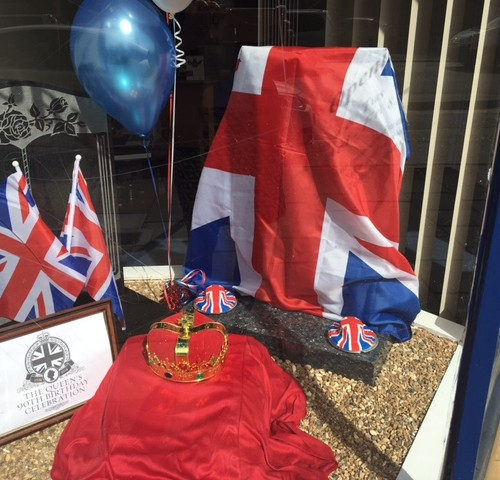 Queens 90th Birthday Window Display at Ruislip Family Funeral Service