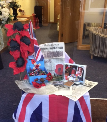 Remembrance Day Window Display at Molesey Branch