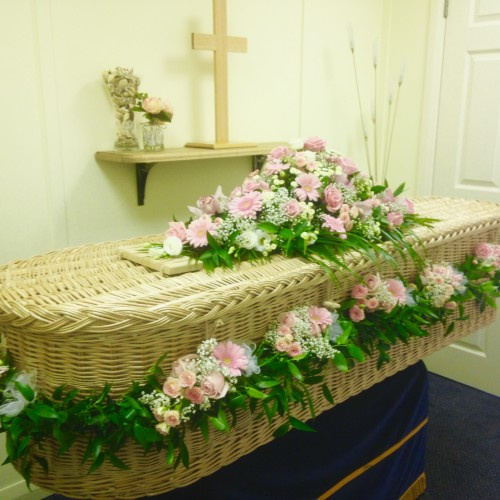 Willow Coffin with Flower Garland