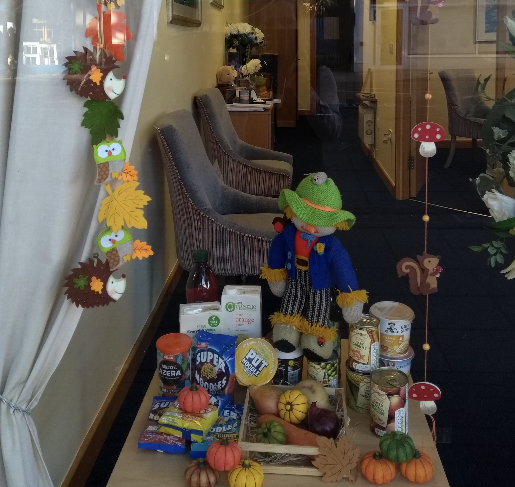 Harvest Festival Window Display at Molesey Branch