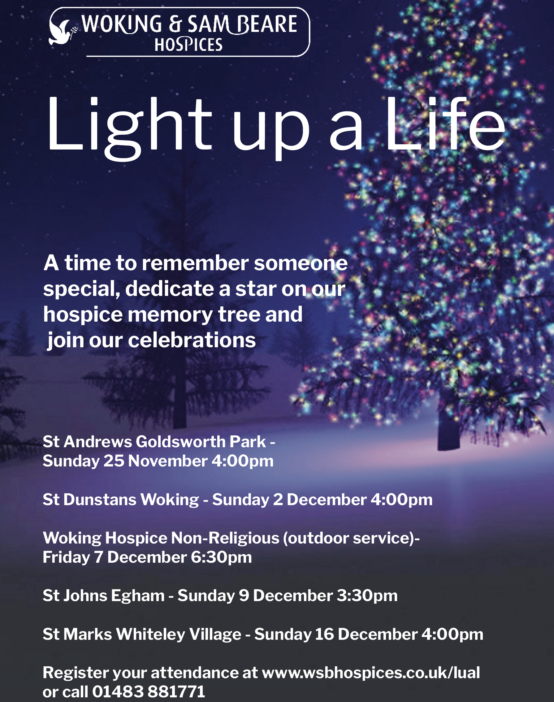 'Light Up A Life' with Woking & Sam Beare Hospices