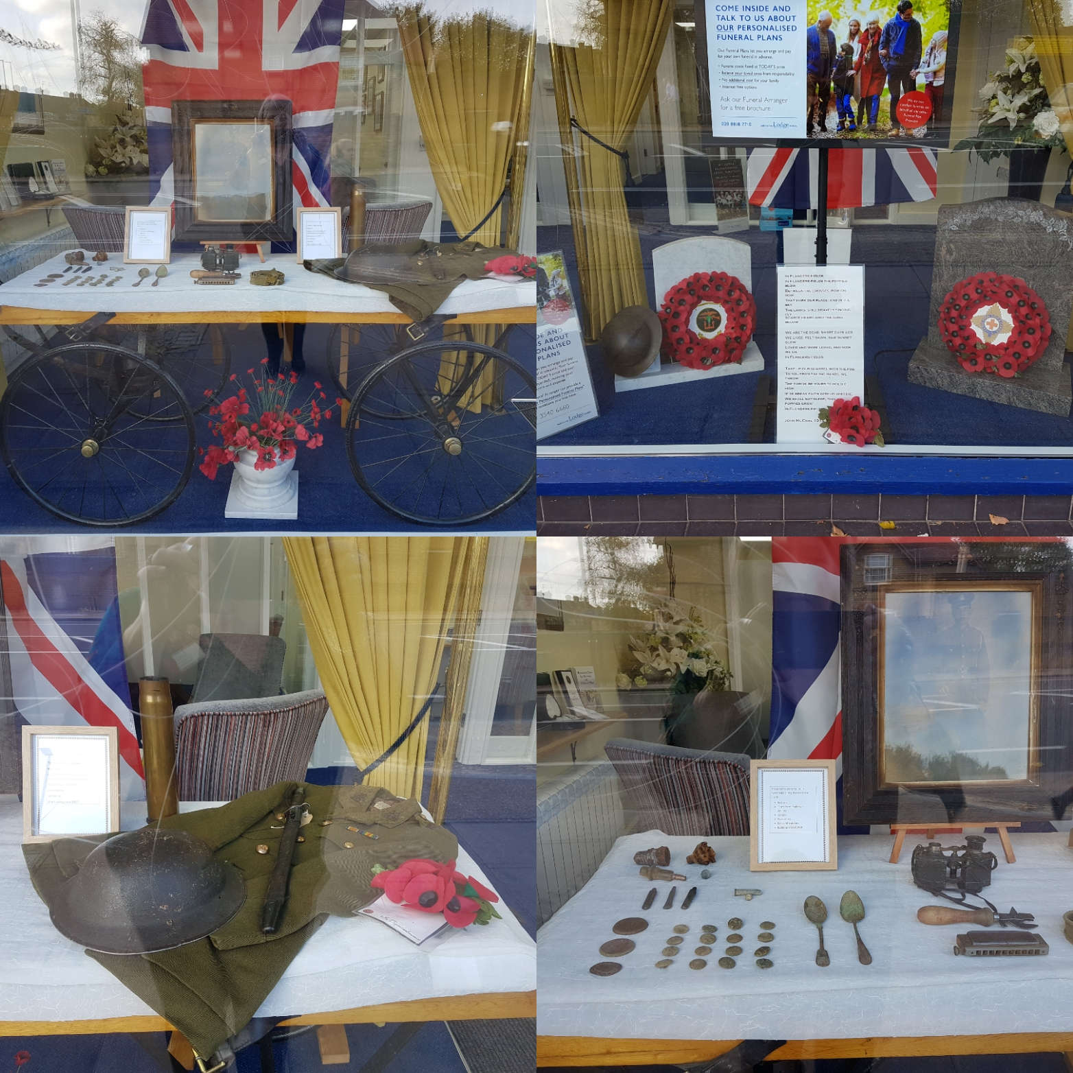 Feltham Branch 100th Anniversary Remembrance Window Display