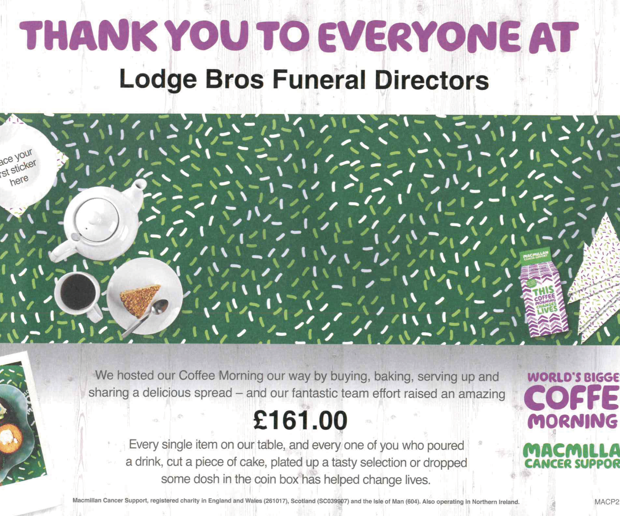 Lodge Brothers Northolt Raise £161 for Macmillan Cancer Support