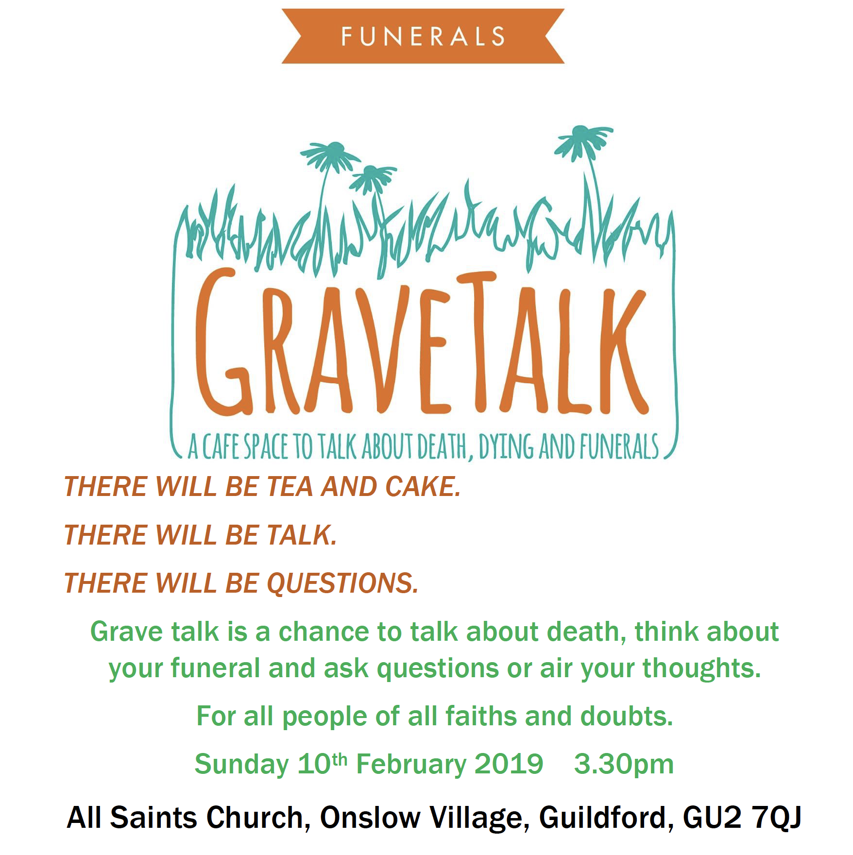 'Grave Talk' at All Saints Church, Onslow Village Sunday 10th Feb 3.30pm