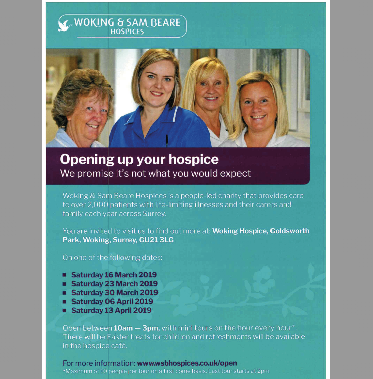 Woking & Sam Beare Hospices Open Days