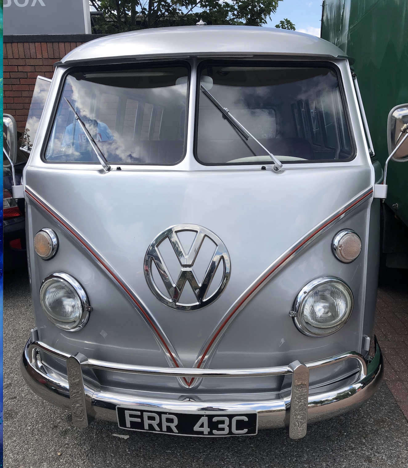 VW Silver Split Screen Campervan Hearse at Feltham Branch