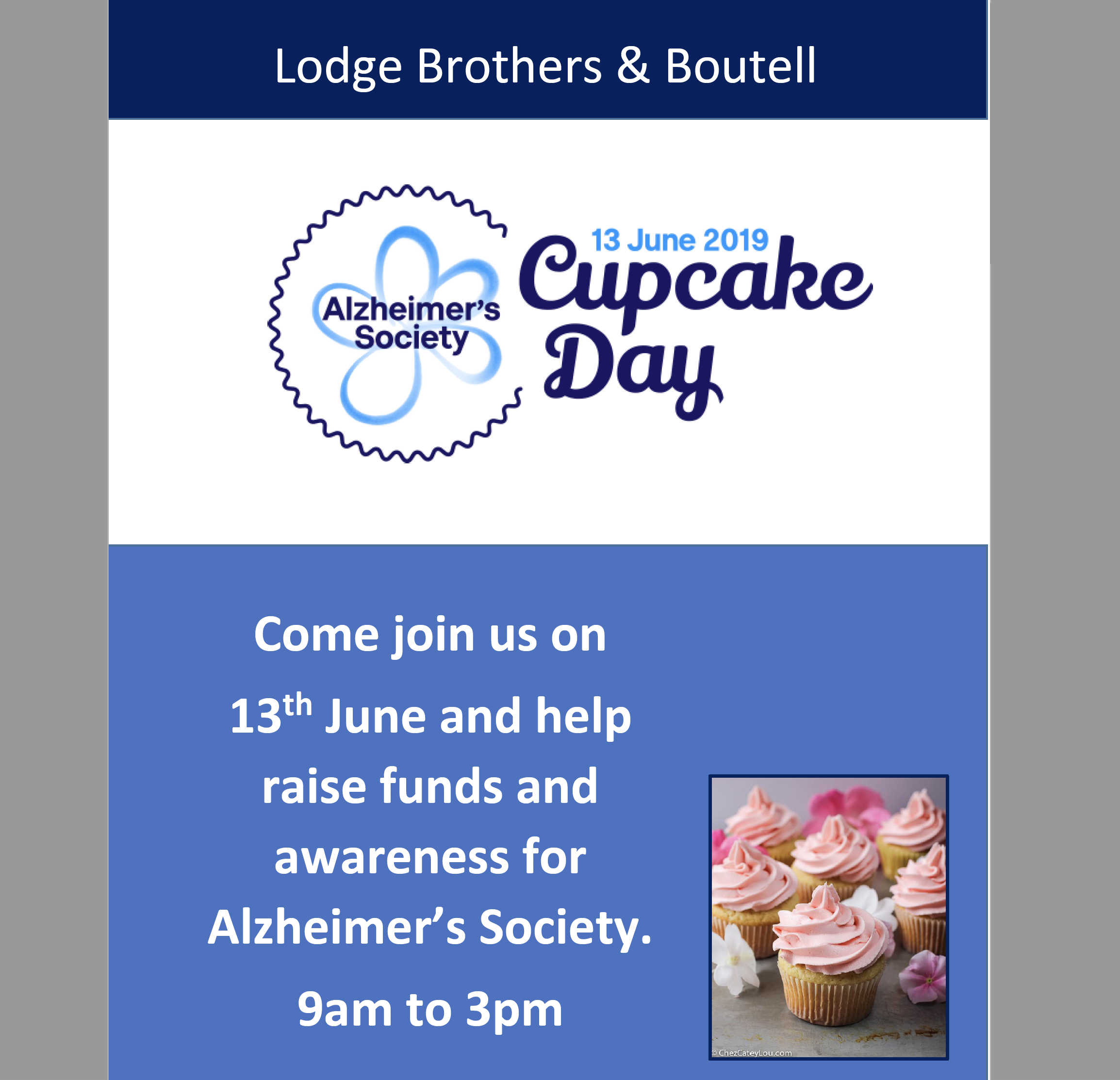 Alzheimer's Society 'Cupcake Day' 13th June 2019
