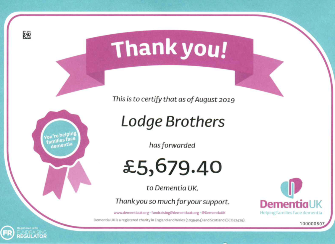 Lodge Brothers Regular Supporters of Dementia UK