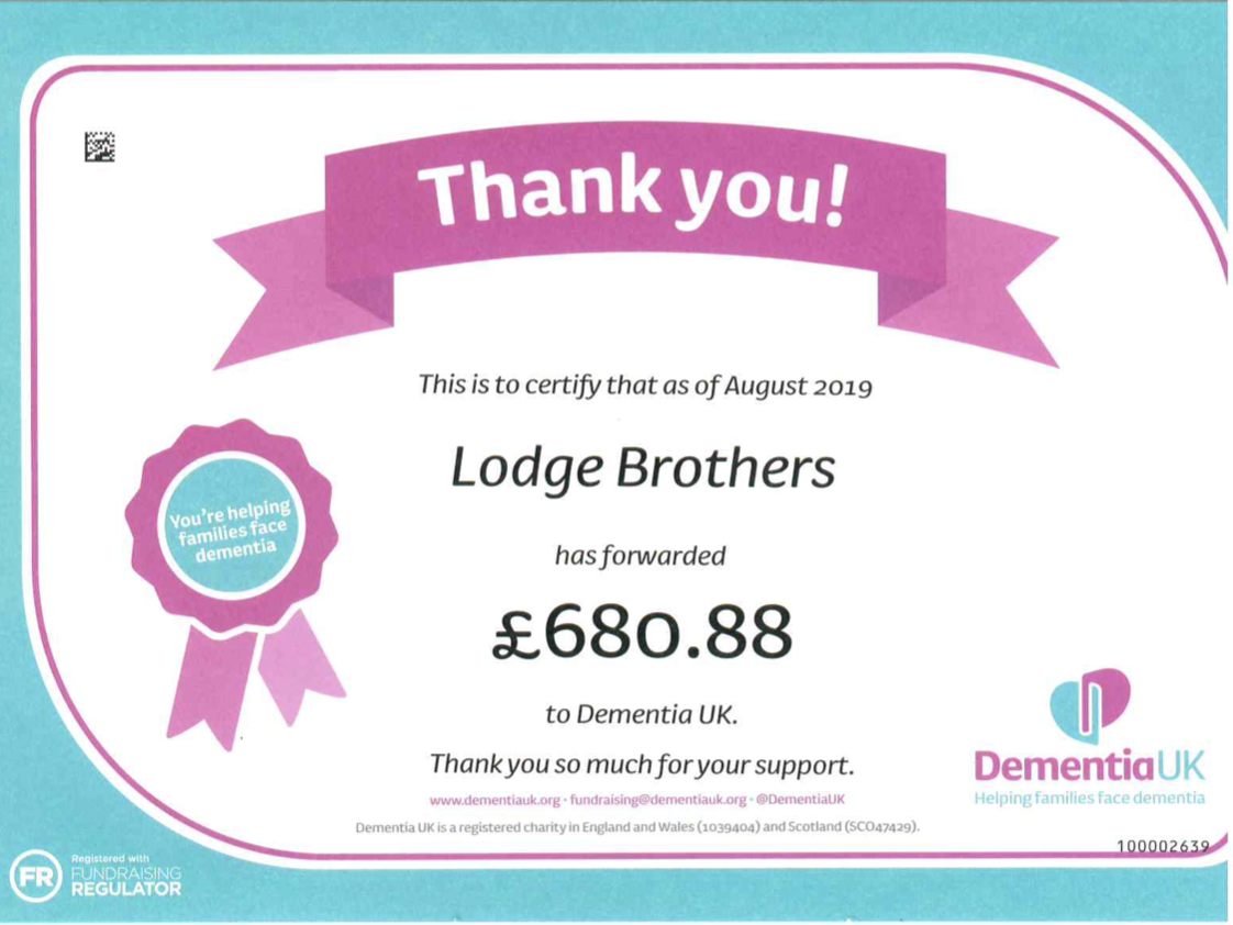 Lodge Brothers Surbiton Supports Dementia UK