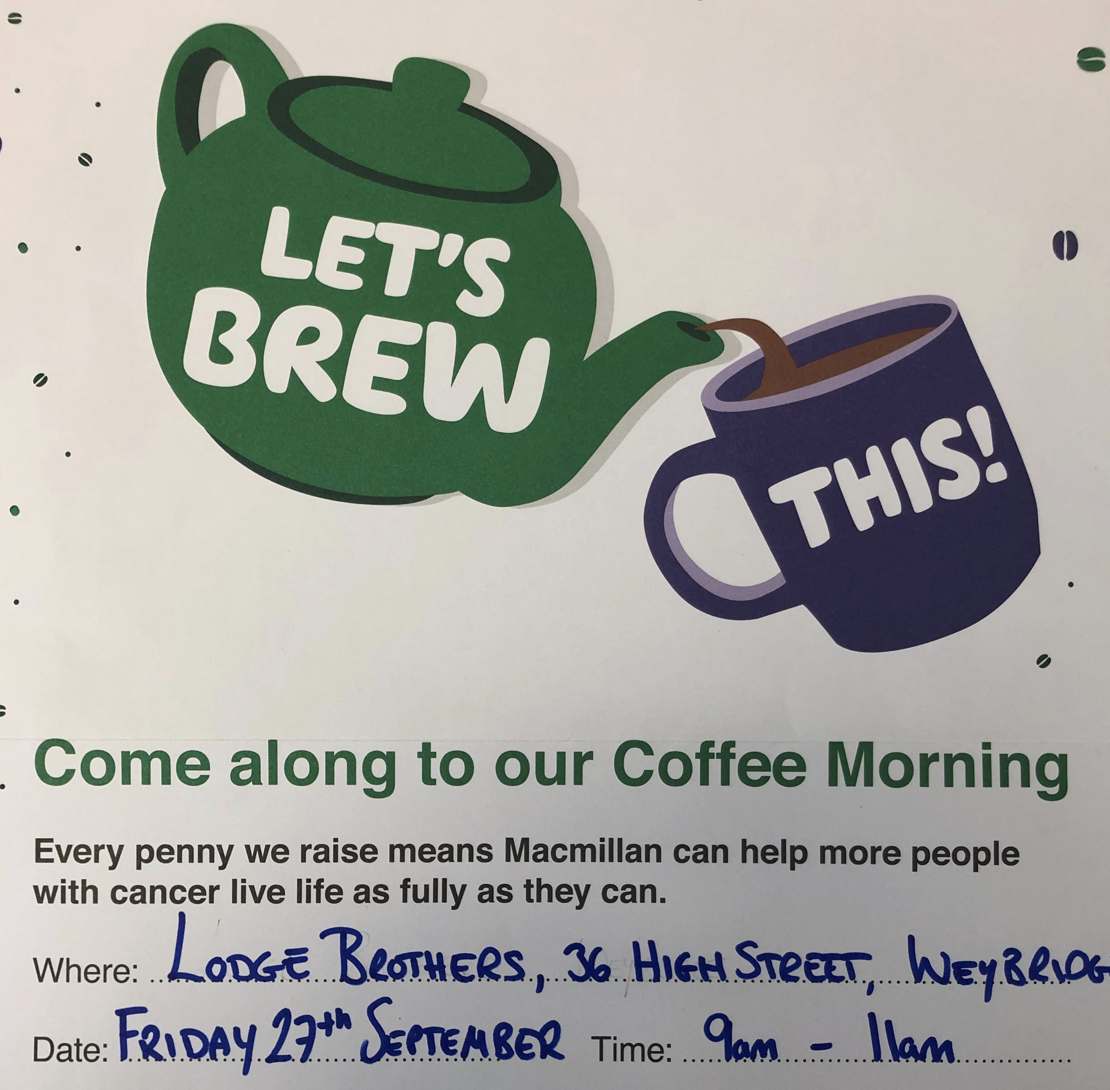 Macmillan Coffee Morning Weybridge Branch Friday 27th September