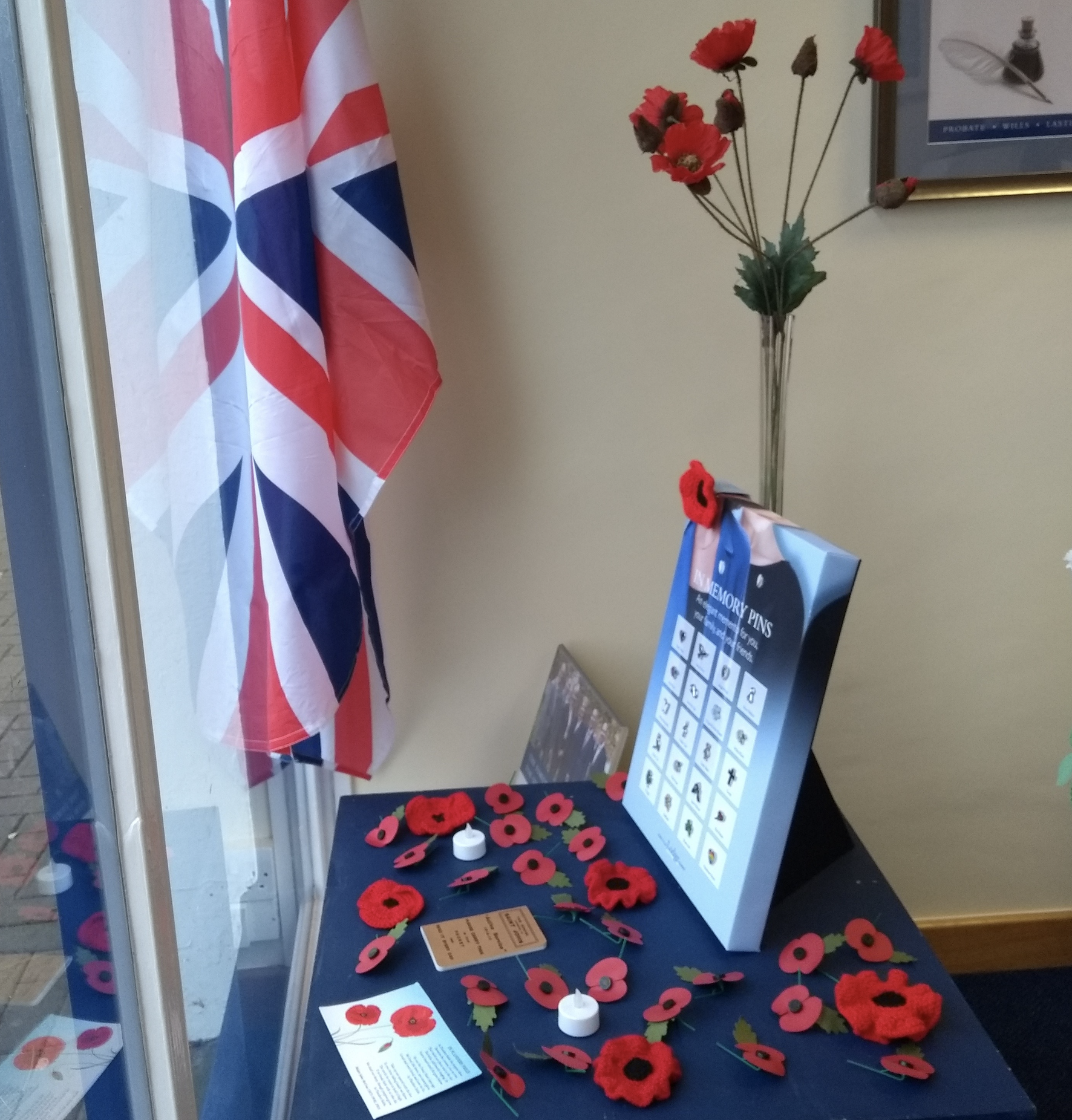 Knitted Poppies at Molesey Branch