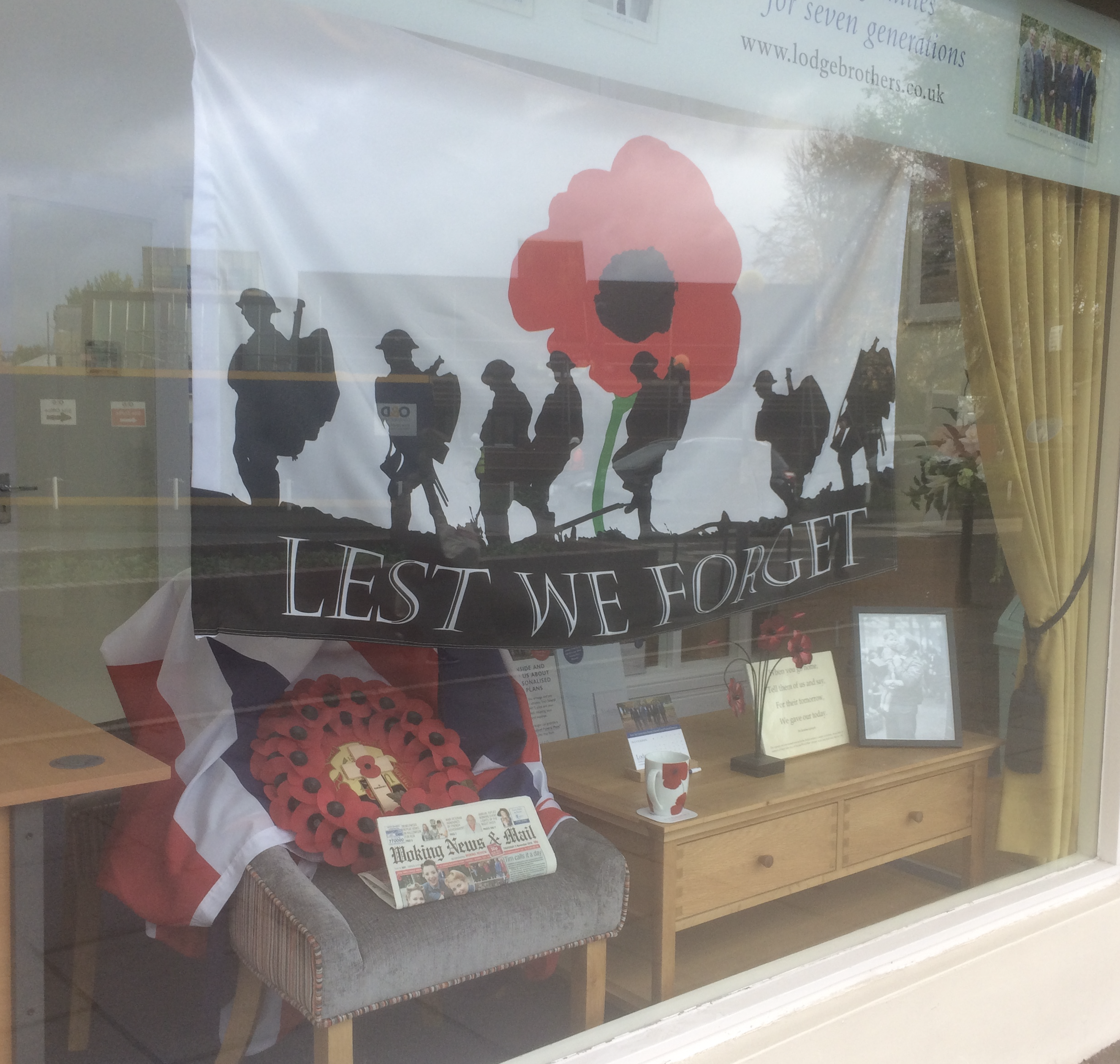 Lodge Brothers Woking Remembrance Window Display Makes the Papers!