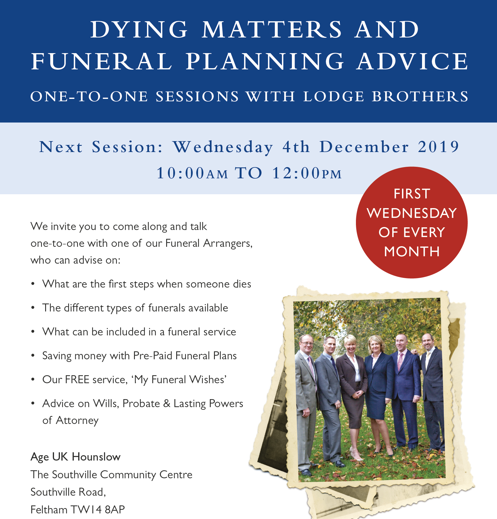 1-2-1 Advice Sessions on Dying Matters & Funeral Planning