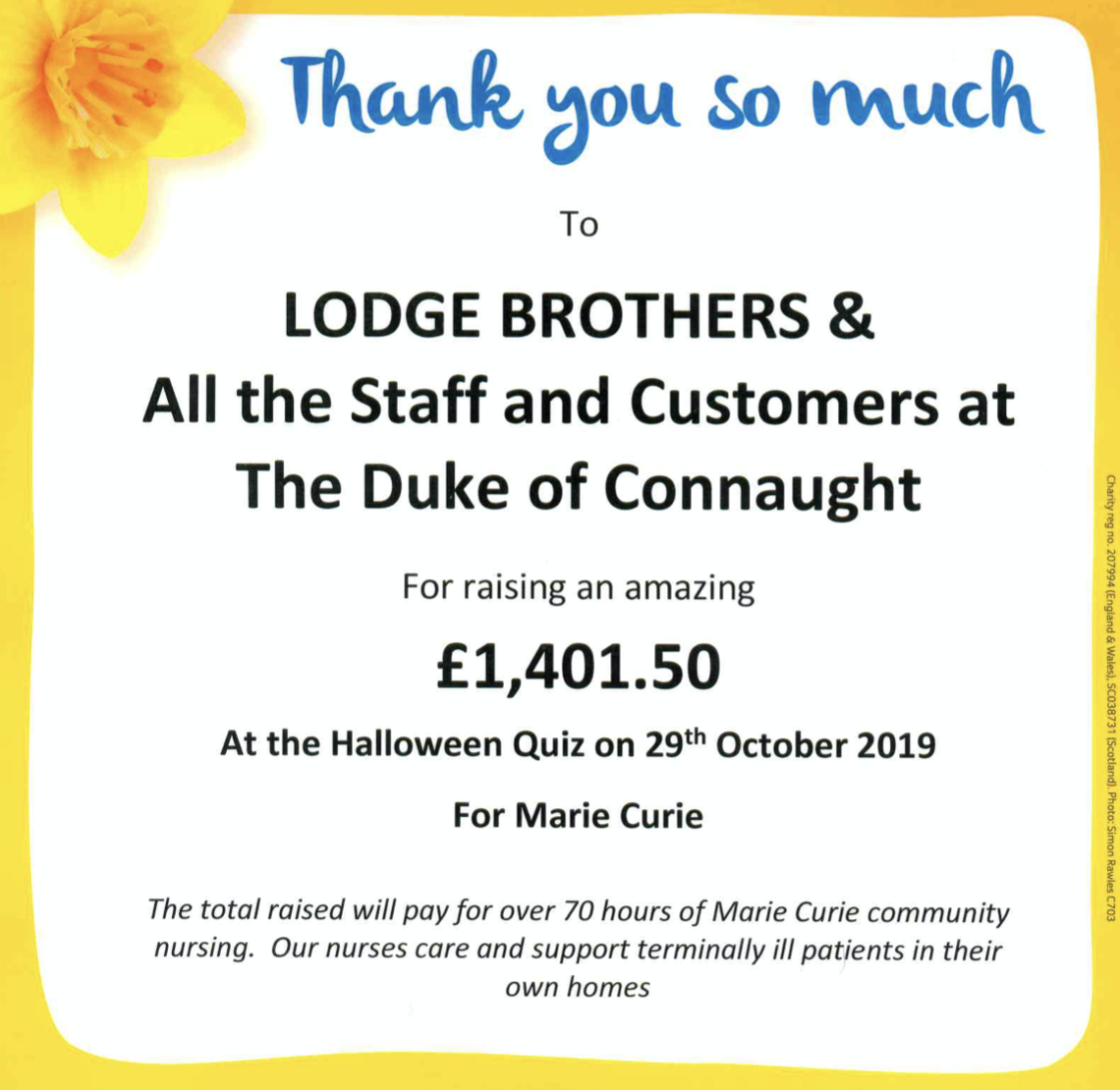 Lodge Brothers Quiz Night for Marie Curie Raised £1,401.50