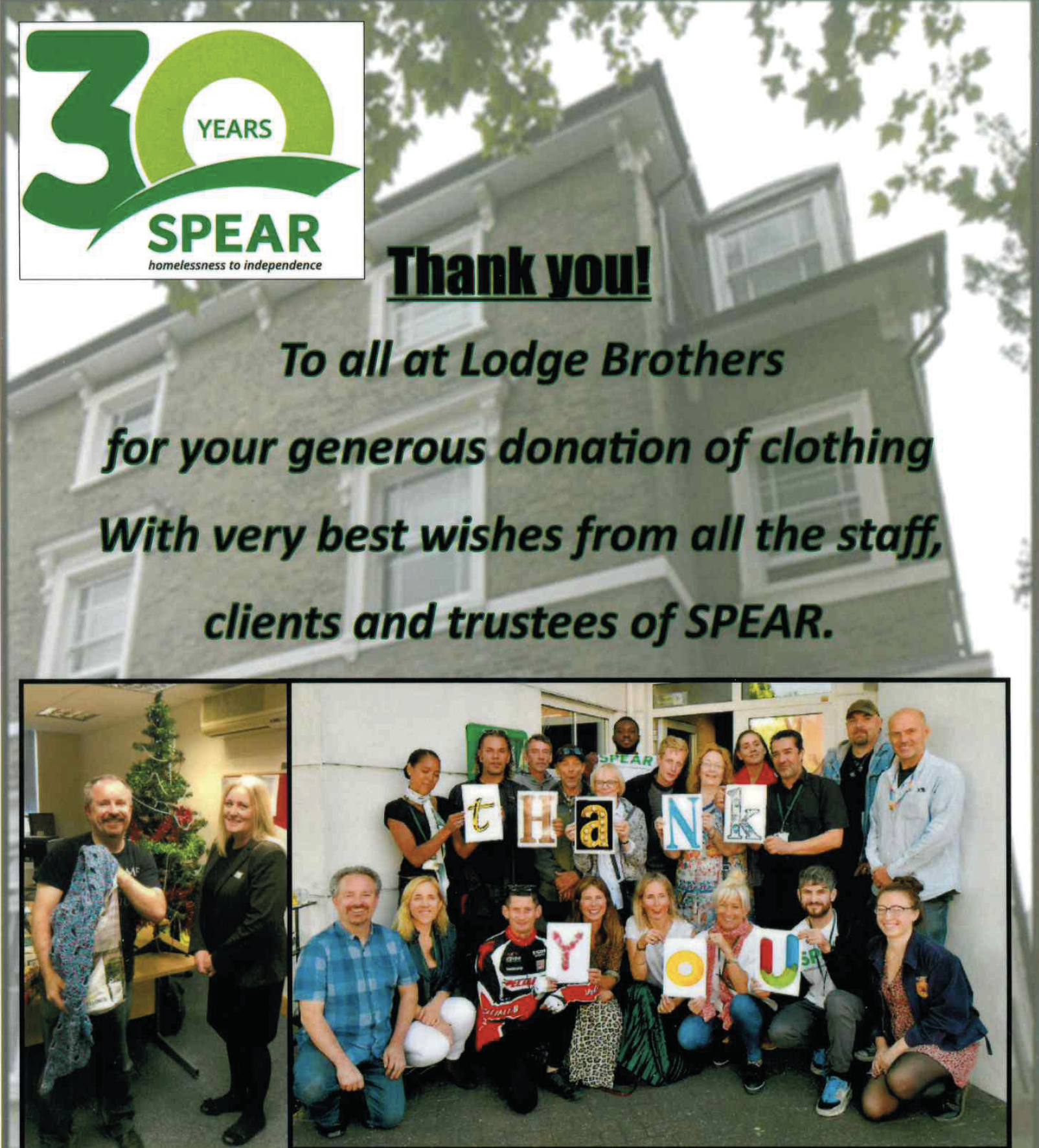 Letter of Thanks From SPEAR London