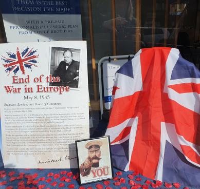 VE Day Display at Weybridge Branch