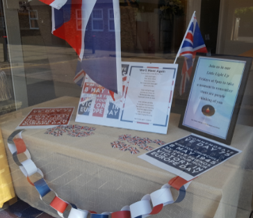 Cobham Branch's Patriotic Window Display for VE Day